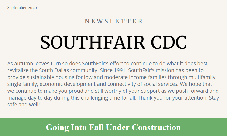 Southfair CDC September 2020 Newsletter